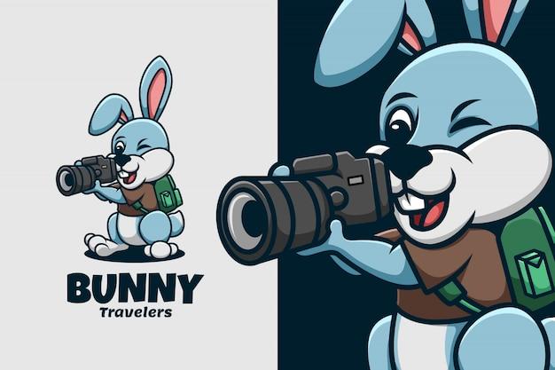 Modello di logo di coniglietto per i viaggiatori