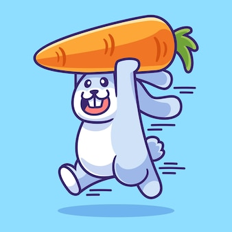 Coniglietto che corre con l'illustrazione della carota