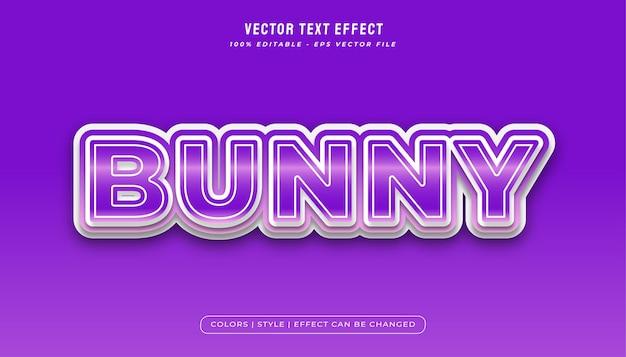 Effetto di stile di testo coniglietto in sfumatura viola