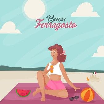 Buon ferragosto concetto con la giovane donna moderna che gode delle bevande al lato della spiaggia.