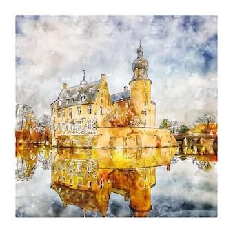 Illustrazione disegnata a mano di schizzo dell'acquerello della germania del castello di burg gemen
