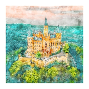 Illustrazione disegnata a mano di schizzo dell'acquerello della germania di burg hohenzollern
