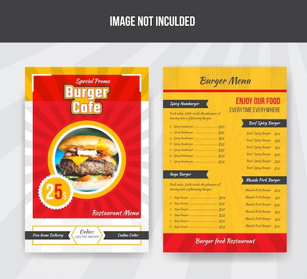 Modello di menu cibo burger cafe per ristorante