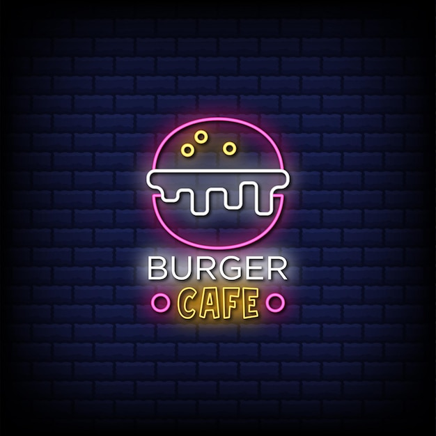 Testo di stile dell'insegna al neon del caffè dell'hamburger