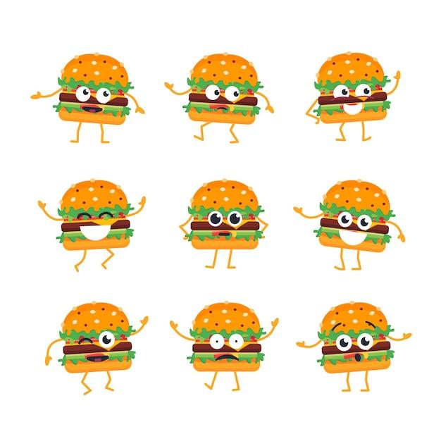 Burger cartoon character - set di modelli vettoriali moderni di illustrazioni di mascotte. immagini regalo di hamburger, balli, sorrisi, divertimento. emoticon, felicità, emozioni, attrazione, risatina, sorpresa