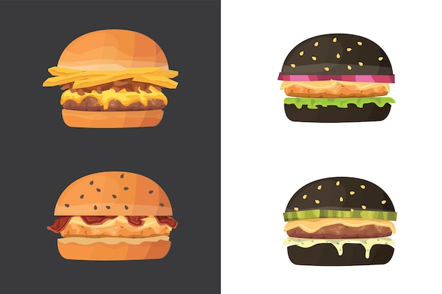 Insieme degli alimenti a rapida preparazione del fumetto dell'hamburger. hamburger nero