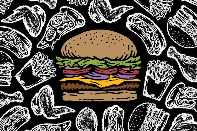 Hamburger sulla lavagna con l'illustrazione dell'elemento degli alimenti a rapida preparazione