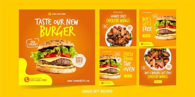 Modello instagram di hamburger e ali di pollo per modello di pubblicità sui social media