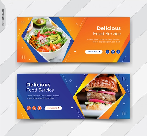 Burger facebook copertina social media post banner design