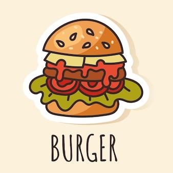 Elemento di design adesivo per hamburger fast food