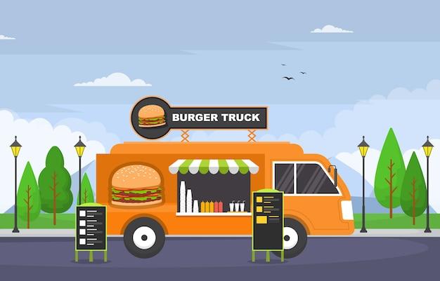 Illustrazione del negozio di strada del veicolo dell'automobile del camion degli alimenti a rapida preparazione dell'hamburger