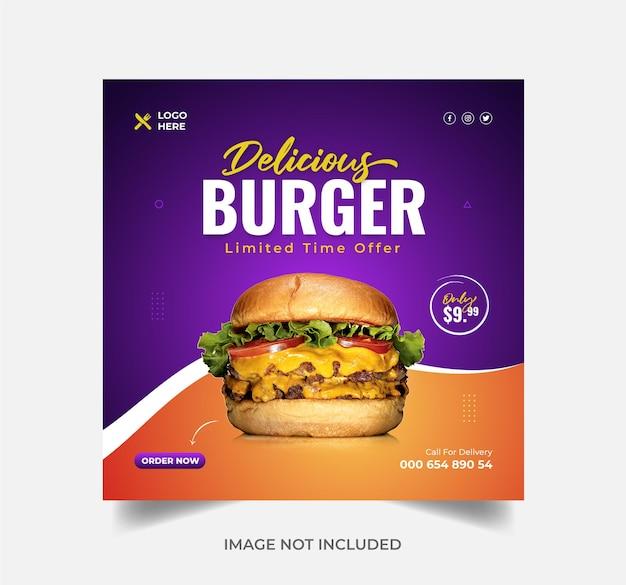 Burger food menu promozione instagram post o banner di vendita vettore premium