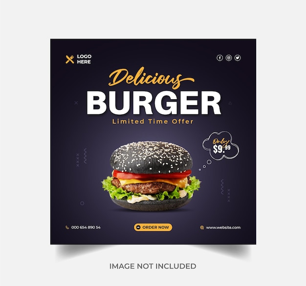 Burger food menu promozione vendita banner post instagram o banner web vettore premium