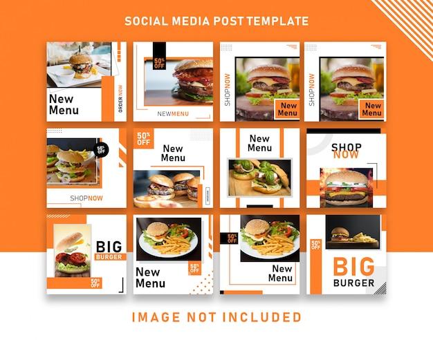 Modello dell'insegna dell'alberino del instagram di media sociali di promozione del menu dell'alimento dell'hamburger