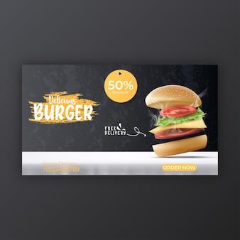 Modello di copertina dei social media del menu di hamburger e cibo per la promozione