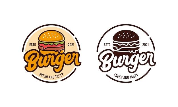 Modello di progettazione del logo del ristorante dell'alimento dell'hamburger. ispirazione per il design del distintivo dell'etichetta del timbro