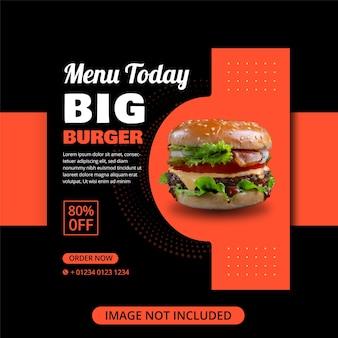 Banner di vendita di cibo per hamburger per post sui social media