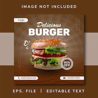 Banner di vendita di cibo hamburger per post sui social media