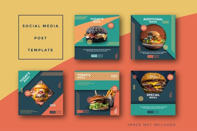 Modello di promozione post social media hamburger cibo