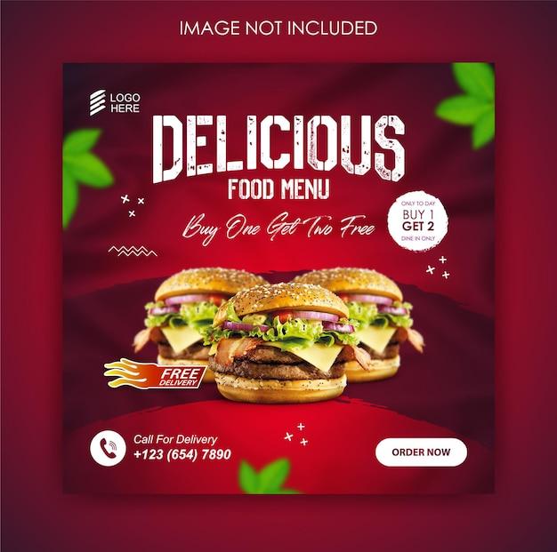 Burger food promozione sui social media e modello di post banner Vettore Premium
