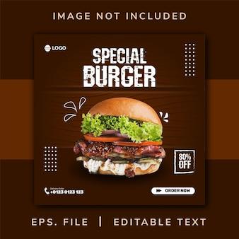 Promozione sui social media di cibo per hamburger e modello di progettazione di banner per instagram