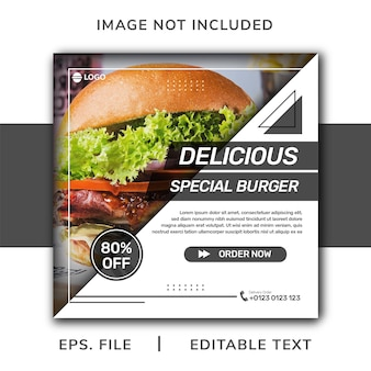 Promozione sui social media di cibo per hamburger e design di banner per instagram