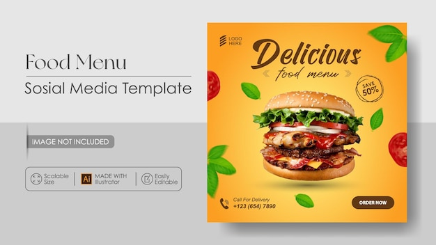 Modello di progettazione di banner e promozione dei media sosial di cibo hamburger