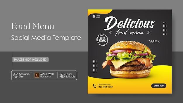 Modello di promozione e banner design per hamburger cibo sosial