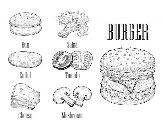 Mano dell'hamburger che disegna stile vintage, componenti dell'hamburger, linea di disegno dell'hamburger in bianco e nero