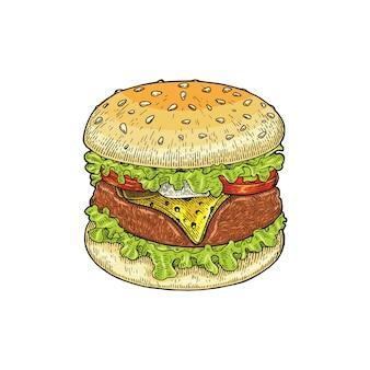 Mano dell'hamburger che disegna stile d'annata, isolato dell'illustrazione del disegno dell'hamburger su fondo bianco