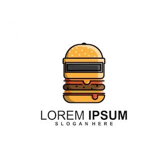 Modello di logo del casco burger