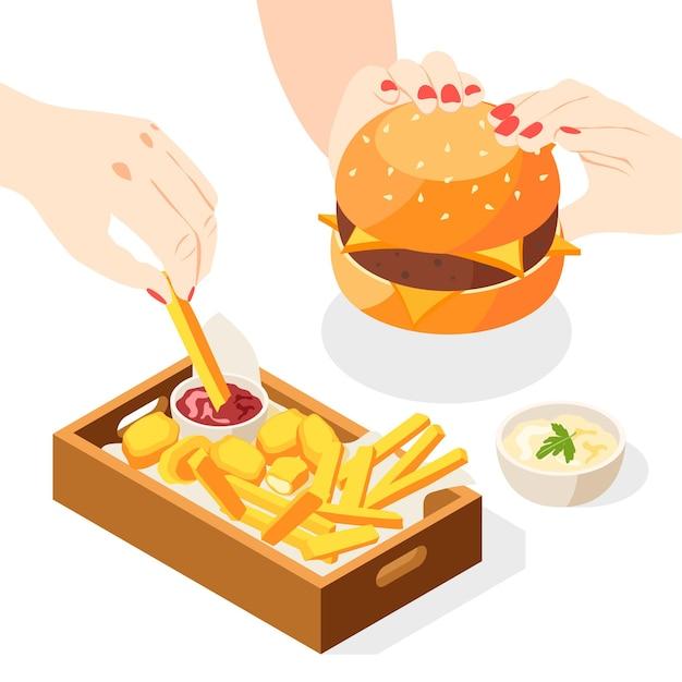 Illustrazione isometrica di hamburger con vista delle mani umane con patatine fritte menu combinato e piatto di salsa