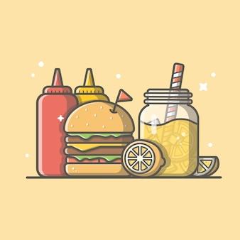 Icona di hamburger con succo d'arancia, limone, senape e salsa ketchup. logo di fast food. menu del ristorante e del caffè isolato