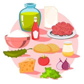 Ingredienti per hamburger. pane e formaggio, insalata e pomodoro
