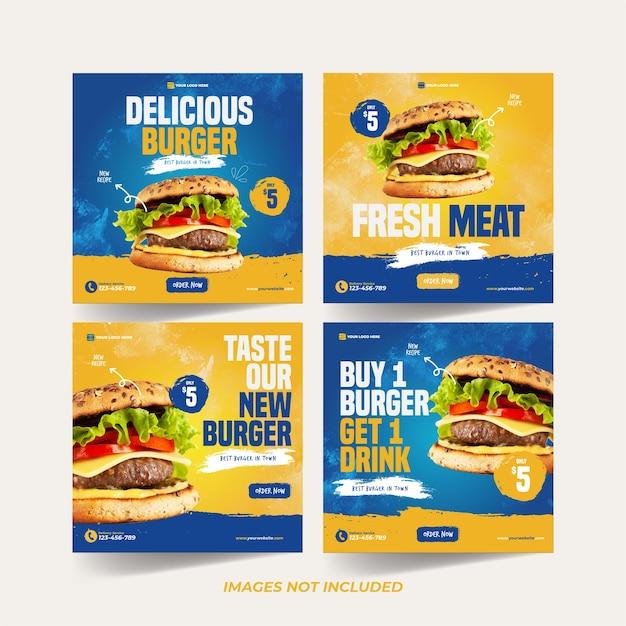 Burger instagram template per modello di pubblicità sui social media