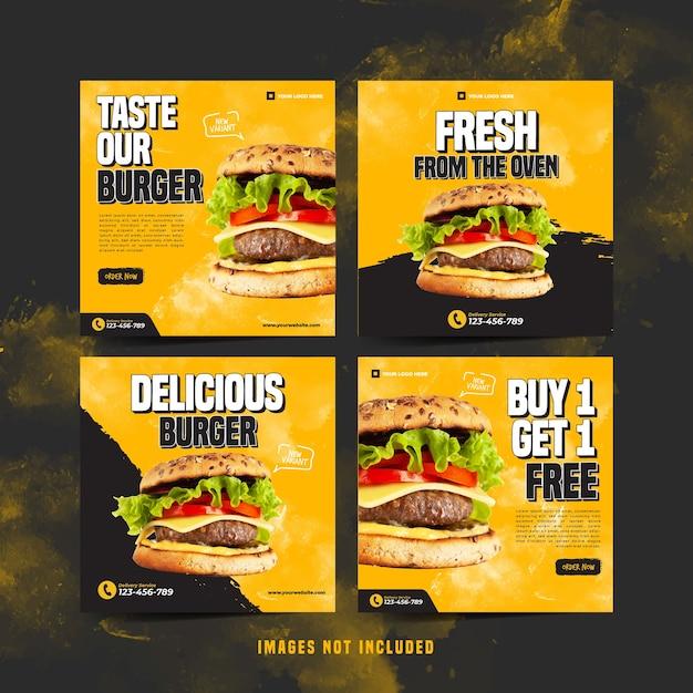 Modello di instagram di hamburger per la pubblicità sui social media