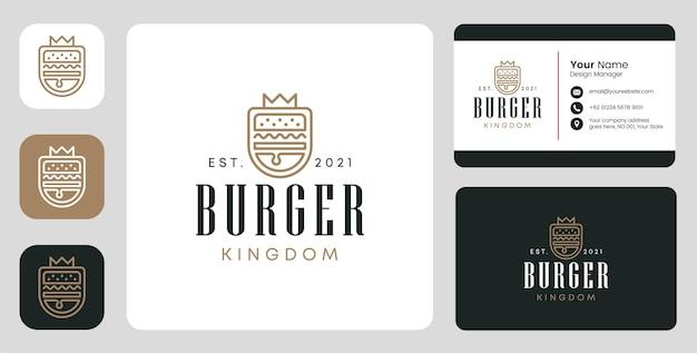 Logo del regno degli hamburger con design stazionario