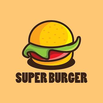 Modello di progettazione di logo dell'hamburger con l'illustrazione del fumetto dell'hamburger