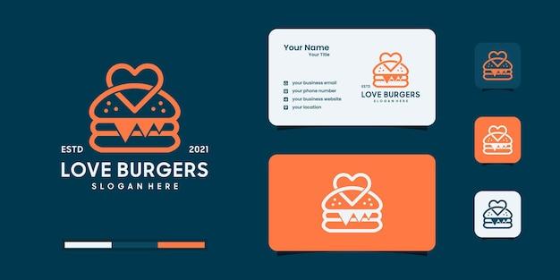 Il design del logo dell'hamburger con il logo dell'amore combina il modello di progettazione.