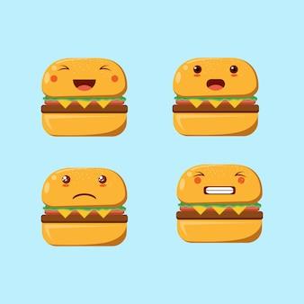 Espressione del volto della mascotte dell'hamburger