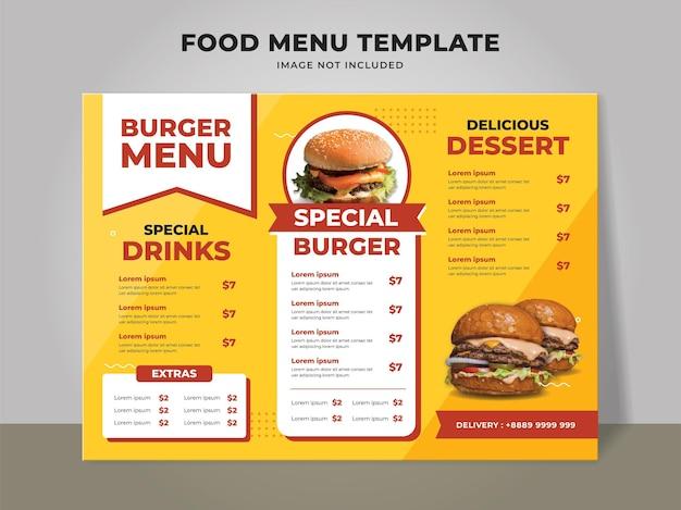 Modello di menu hamburger per ristorante fast food e caffetteria