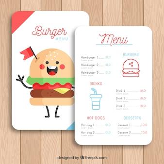 Modello di menu burger con carattere divertente hamburger