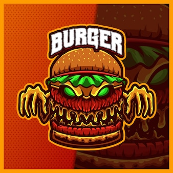La mascotte del mostro dell'hamburger esport logo design illustrazioni, cheeseburger in stile cartone animato