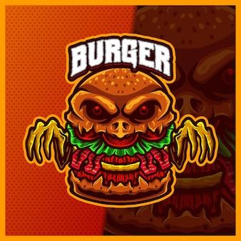 Burger mostro mascotte esport logo design illustrazioni modello, cheeseburger stile cartone animato