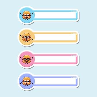 Targhetta per hamburger con simpatico personaggio logo