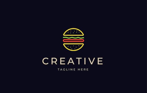 Modello dell'icona del design del logo della linea al neon dell'hamburger