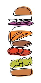 Burger oneline arte a linea continua