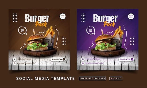 Modello di banner di social media di promozione del menu del pacchetto di hamburger