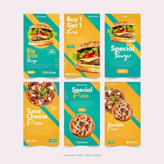 Modello instagram di hamburger e pizza per modello di pubblicità sui social media premium vector