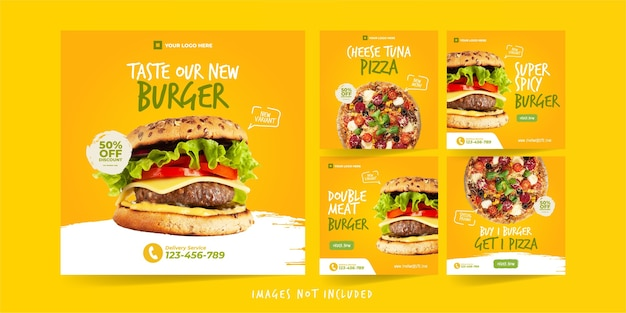 Modello instagram di hamburger e pizza per modello di pubblicità sui social media